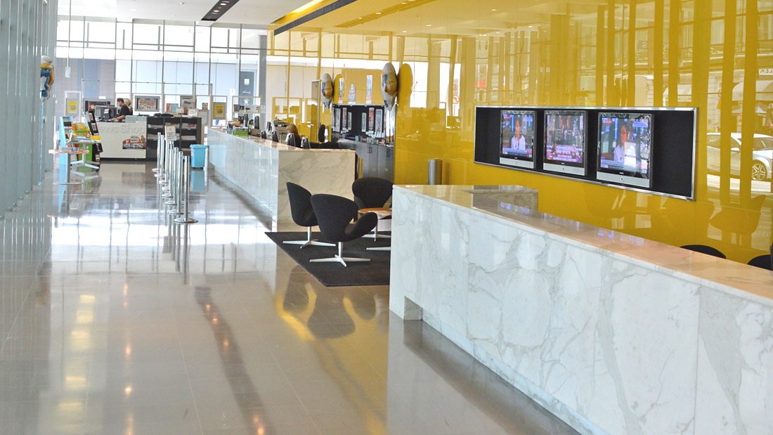 Yellow Colourback Glass Panels - Advertiser Building Adelaide